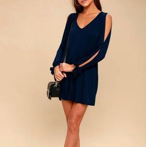 Lulu's Navy Blue Shift Dress Cold shoulder Size M